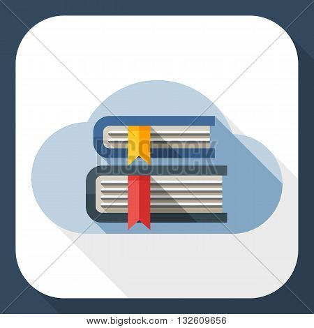 Vector Cloud Library or Online Library icon. Online Library or Cloud Library simple icon in flat style with long shadow