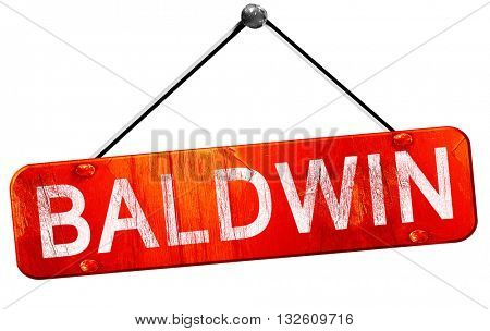 baldwin, 3D rendering, a red hanging sign