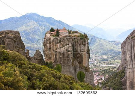 Meteora. Holy Trinity Monastery. Greece. Meteora - one of the largest monasteries in Greece.