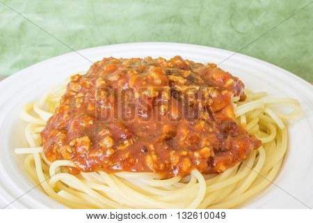 The spaghetti white plate and natural green backdrop.