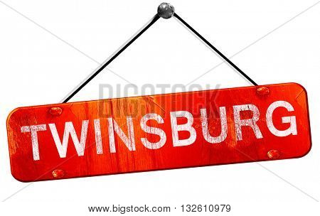 twinsburg, 3D rendering, a red hanging sign