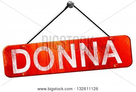 donna, 3D rendering, a red hanging sign