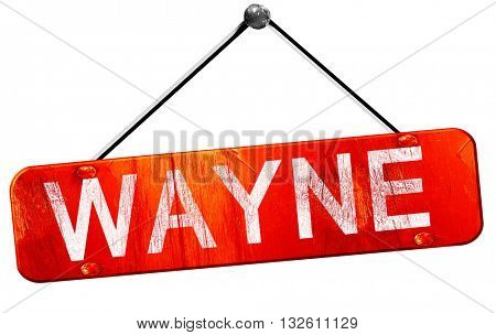 wayne, 3D rendering, a red hanging sign
