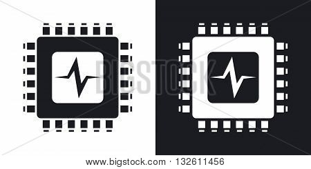 Vector CPU or Processor test icon. Two-tone version of CPU or Processor test simple icon on black and white background