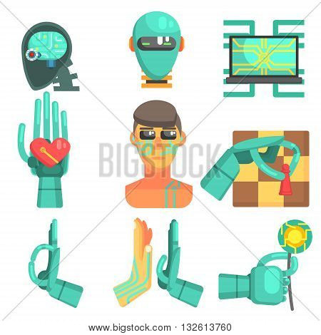 Artificial Intelligence Set Of Flat Colorful Simplified Graphic Style Icons Isolated On White Background