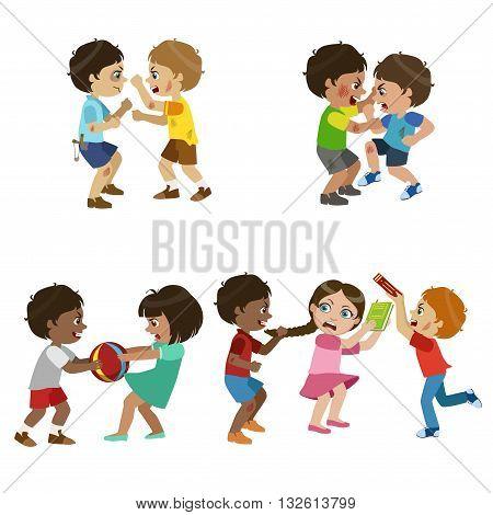 Kids Bullies Childish Cartoon Style Cute Vector Illustration On White Background