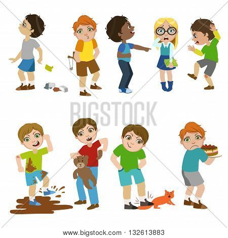 Mean Children Childish Cartoon Style Cute Vector Illustration On White Background
