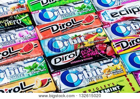 Moscow RUSSIA - May 24 2016: various brand chewing gum background. bubble gum brands Orbit Dirol Eclipse Stimorol Wrigley Spearmint.