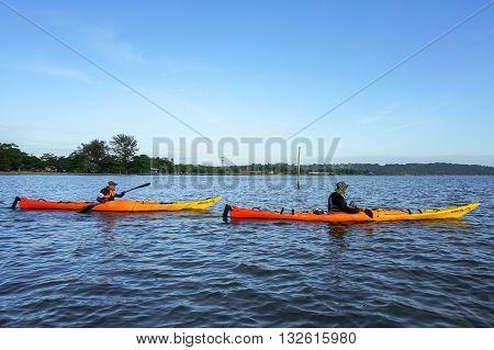 Labuan Malaysia - Jan 30, 2016:Group of adventurer enjoying sea kayak expedition activity at Labuan Malaysia in conjuction with Hari Wilayah 2016.
