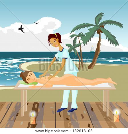Vector illustration of naked woman pampering herself by enjoying day spa massage on the beach back massage wellness wooden salon in thailand flat cartoon illustration