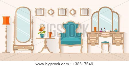The interior of the dressing room with furniture in flat style. Vector illustration. Interior design with a dressing table and mirror. Boudoir for a woman.
