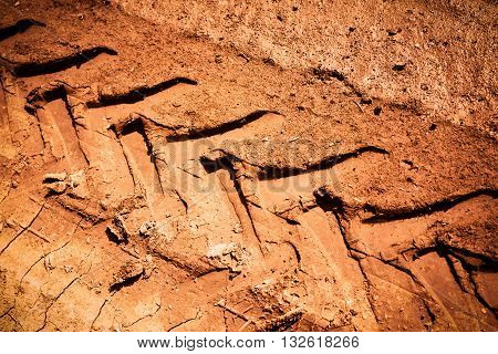 Off-road track in country farm closeup picture