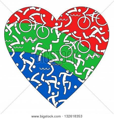 Heart with icons of triathlon athletes. Vector available.