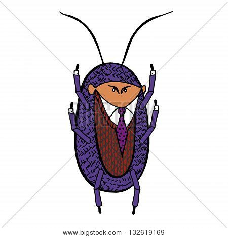 Cockroach in a good suit. Vector caricature illustration