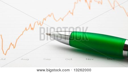 pen and graph line extreme closeup photo poster