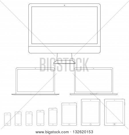 mockup gadget and device outline icons set on the white background. stock vector illustration eps10