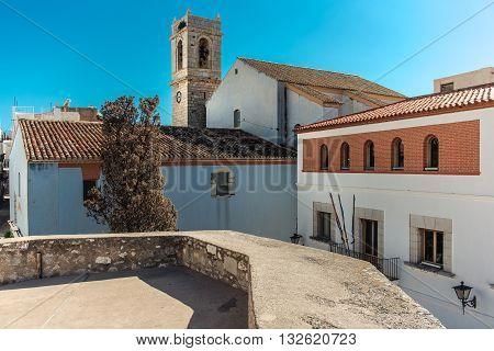 Peniscola castle or Castillo del Papa Luna located on the highest point of the city. Costa del Azahar province of Castellon Valencian Community. Spain