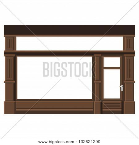Shopfront with White Blank Windows. Wood Store Facade. Vector Illustration.