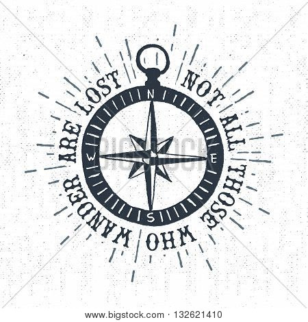 Hand drawn textured vintage label retro badge with compass rose vector illustration and