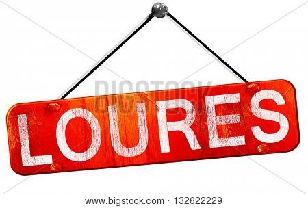 Loures, 3D rendering, a red hanging sign