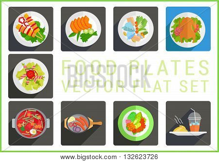 Main dishes flat vector modern icons set. Collection of various food plates pictograms.