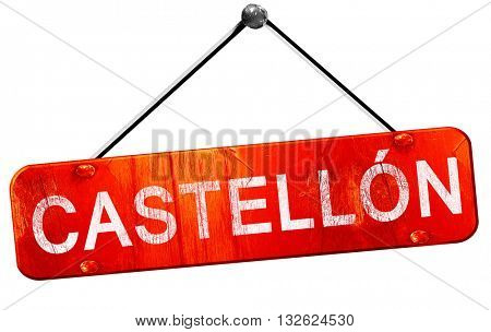 Castellon, 3D rendering, a red hanging sign