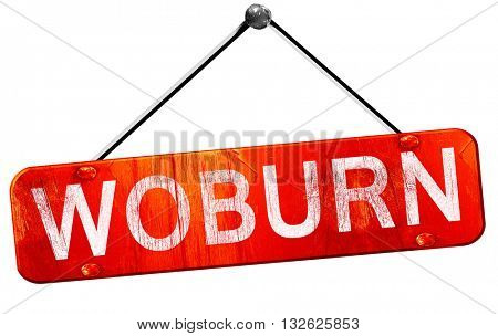 woburn, 3D rendering, a red hanging sign