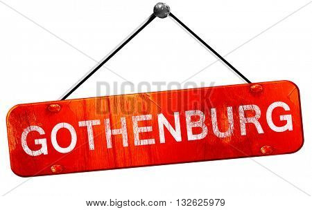 Gothenburg, 3D rendering, a red hanging sign