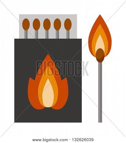 Vector burning matches sticks