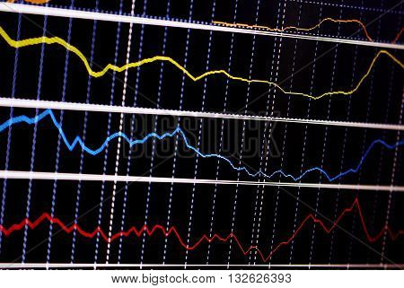 Stock exchange chart graph. Finance business background. Abstract stock market diagram candle bars trade.