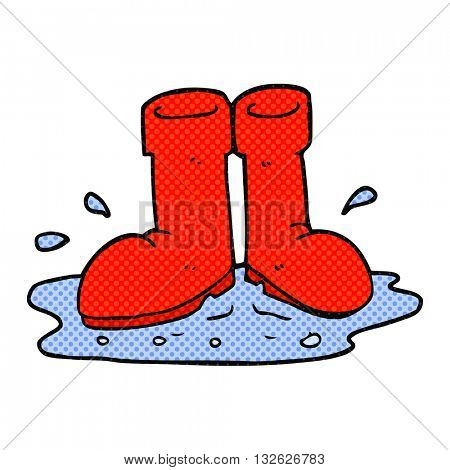 freehand drawn cartoon wellington boots in puddle