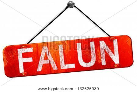 Falun, 3D rendering, a red hanging sign