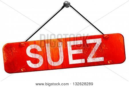 suez, 3D rendering, a red hanging sign