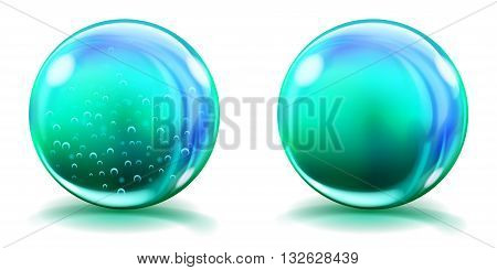 Big Light Blue Glass Spheres With Air Bubbles And Without