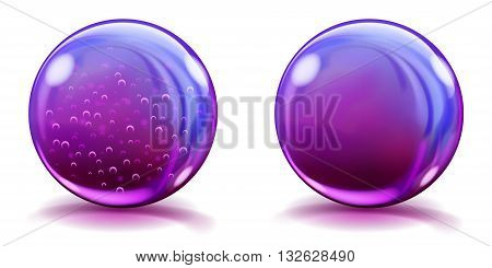 Big Violet Glass Spheres With Air Bubbles And Without