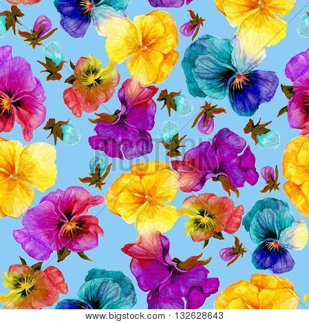 Flower pattern watercolor painting on blue background