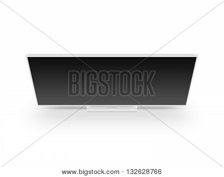 TV flat screen lcd plasma realistic 3d illustration tv mock up. White HD monitor mockup. Modern multimedia panel black screen mock-up. Top view of flat display tv set. Telly from above.