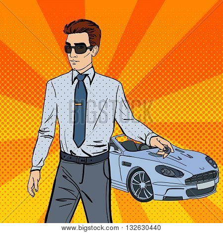 Successful Businessman with Car Key. Pop Art. Vector illustration