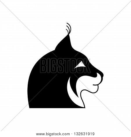 Stylized black and white lynx head tattoo vector illustration isolated on white background.