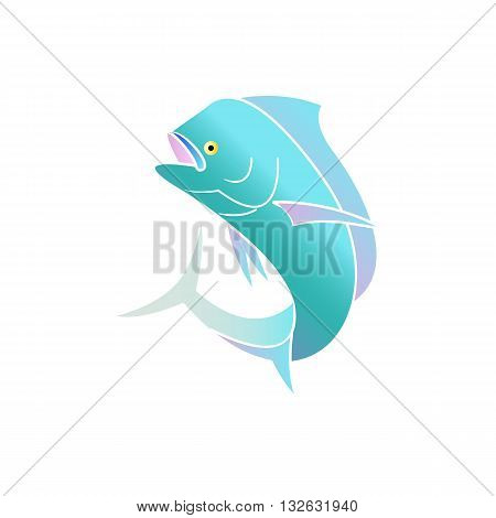 Beautiful colorful mahi mahi fish vector illustration isolated on white background.