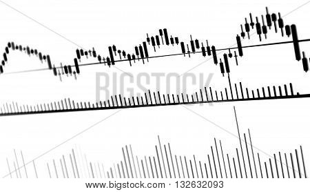 Charts and quotes on display. Display of Stock market quotes. Stock exchange rates. Earn profit chart and diagram. Computer screen live display. Display of Stock market quotes. Computer screen.
