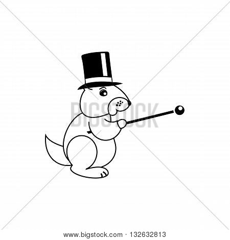 Cute line drawing Mr Groundhog with hat and stick vector illustration isolated on white background.
