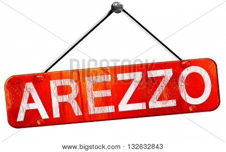 Arezzo, 3D rendering, a red hanging sign
