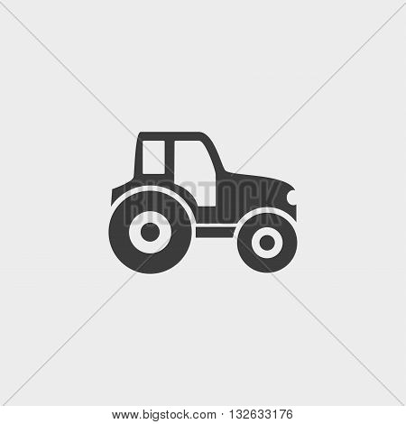 Tractor icon in a flat design in black color. Vector illustration eps10