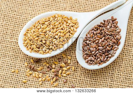 Difference of Golden linseeds and brown linseeds (flax seeds) in wooden spoon on sack background.
