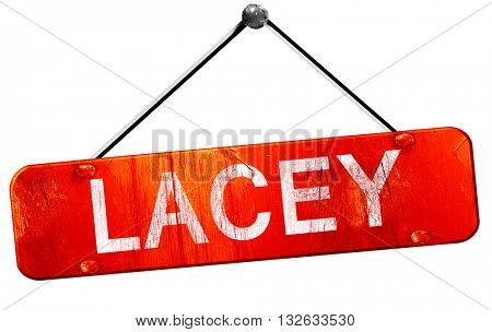 lacey, 3D rendering, a red hanging sign