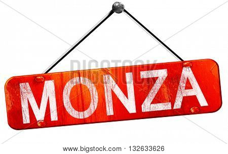 Monza, 3D rendering, a red hanging sign