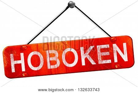 hoboken, 3D rendering, a red hanging sign