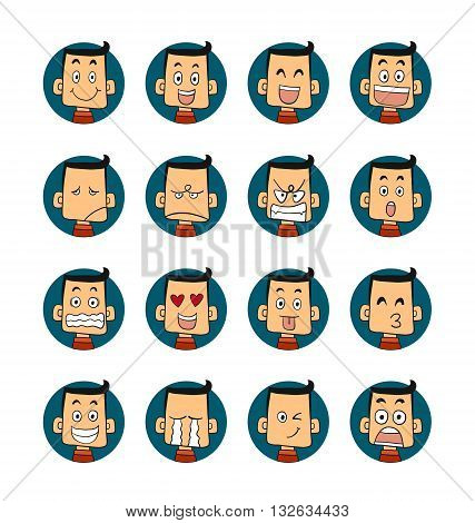 Men emotions set of faces vector characters.