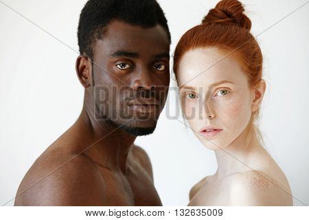 Multicultural Love And Relationships Concept: Young Nude Redhead Freckled Caucasian Woman Standing N